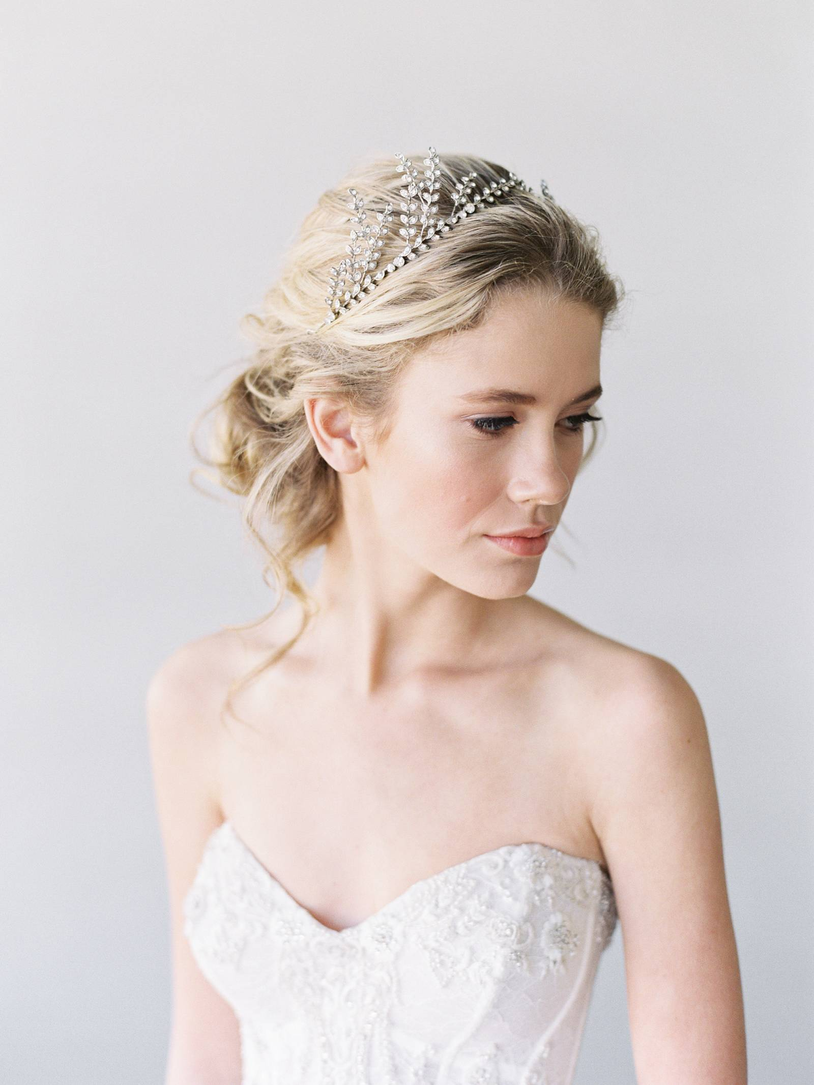 Fine Art Colorado Wedding Photography bride looking down in a beautiful headpiece