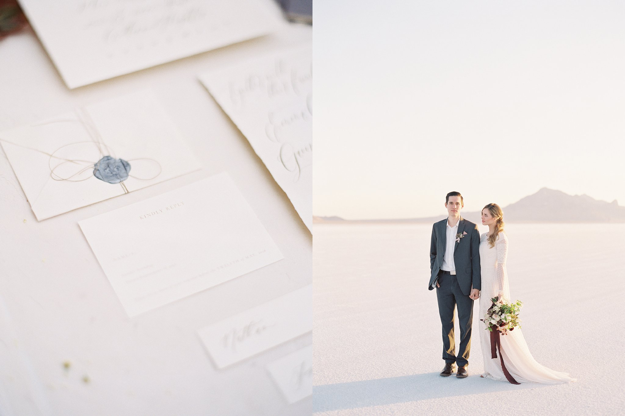 Romantic Anniversary Session hand lettered invitation suite at the Salt Flats in Utah on Film