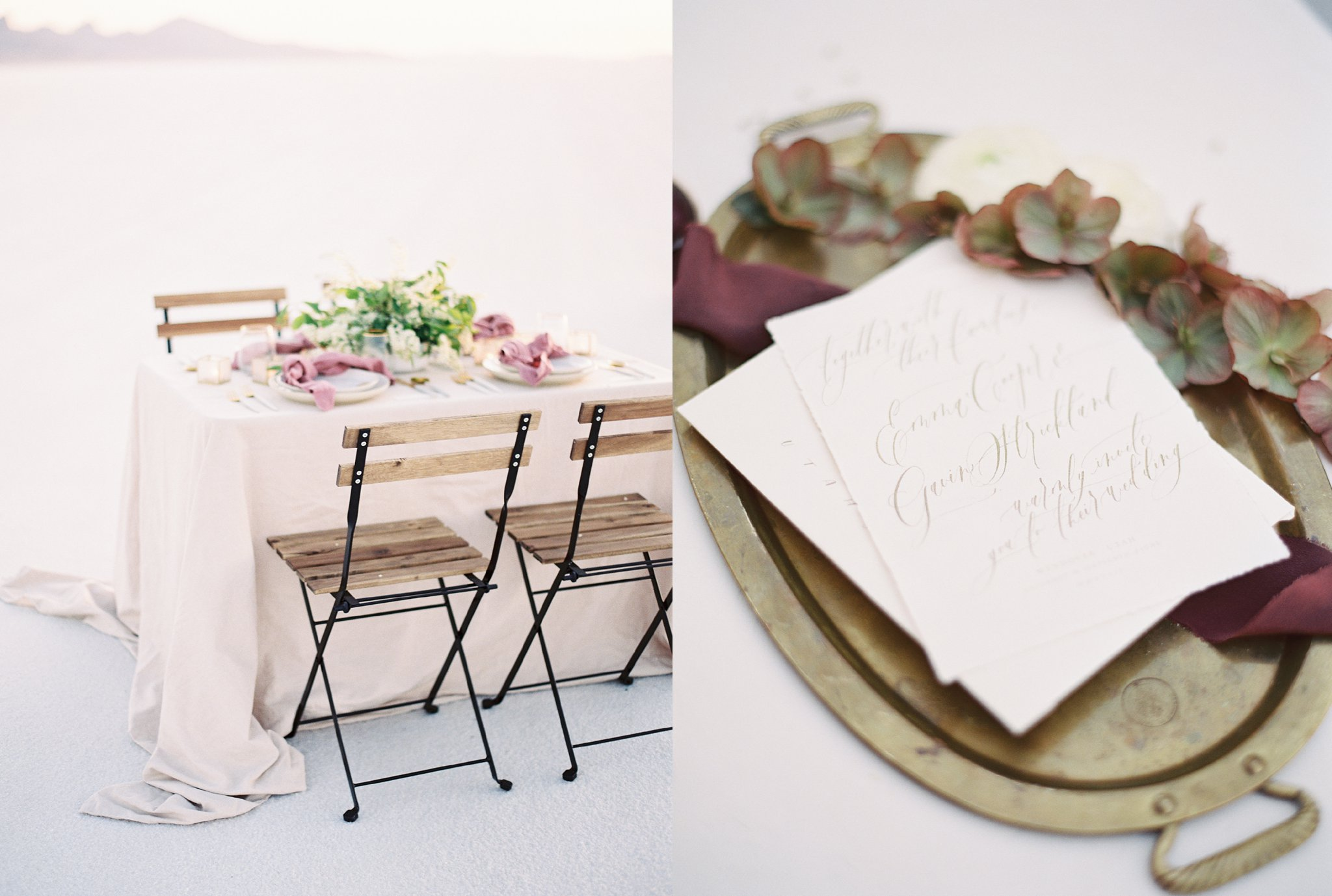 Romantic Anniversary Session tablescape at the Salt Flats in Utah on Film
