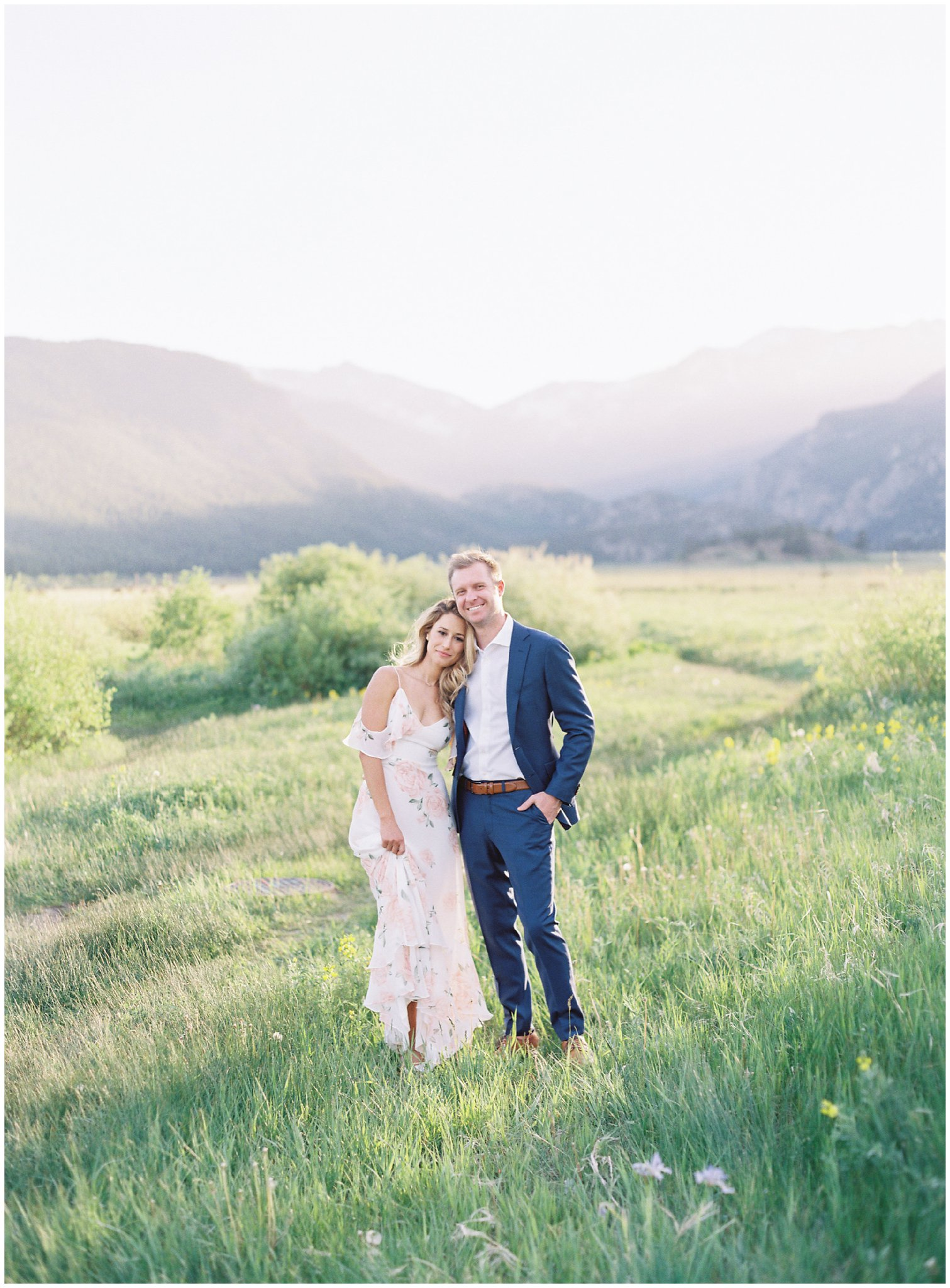 Couple smiling during Rocky Mountain National Park Engagement Session