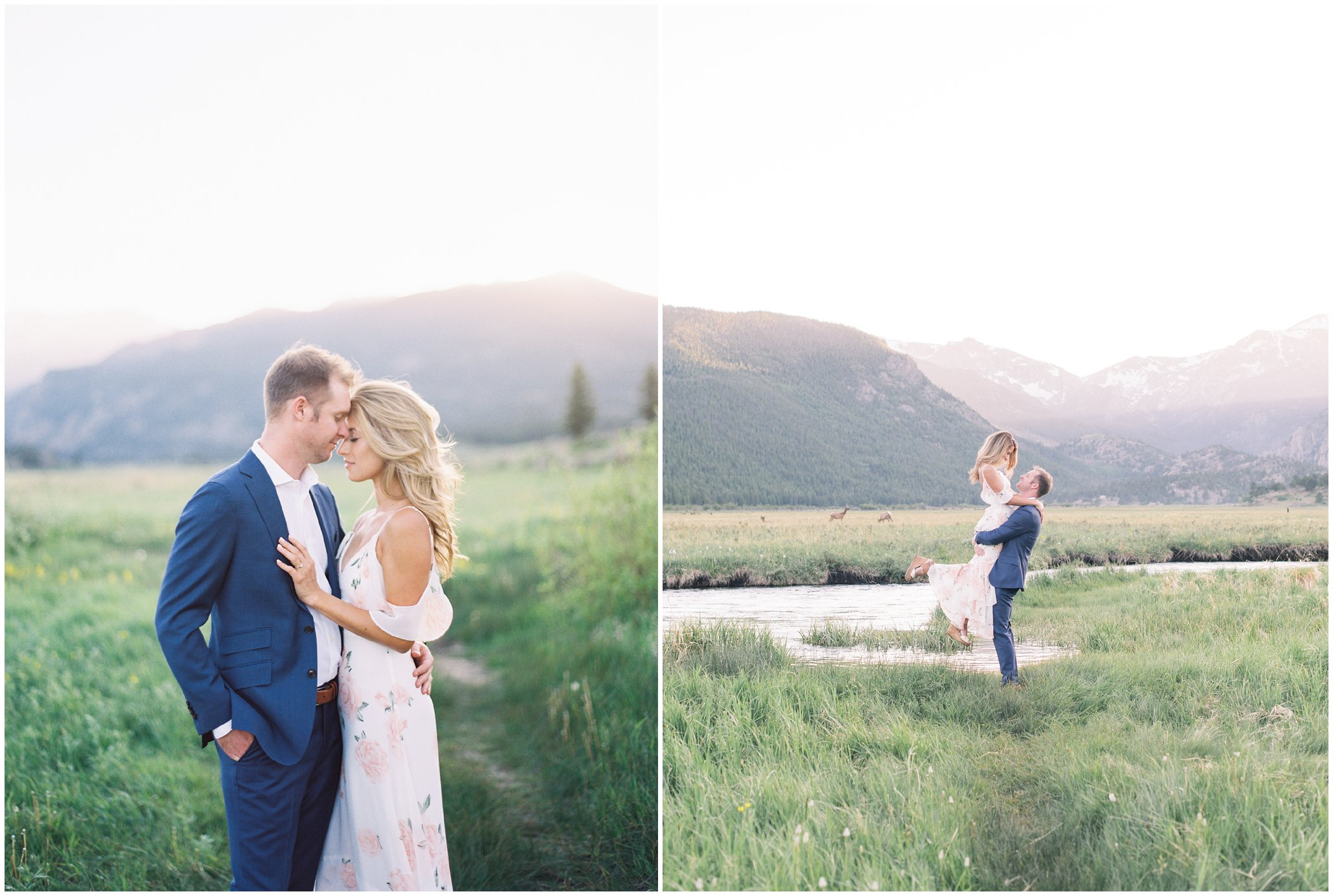 Couple twirling during Rocky Mountain National Park Engagement Session