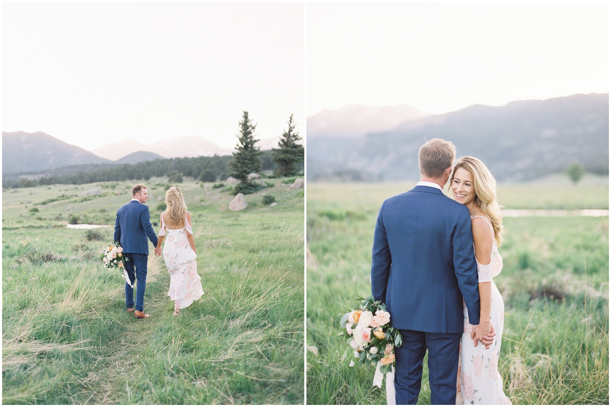 Couple walking during Rocky Mountain National Park Engagement Session