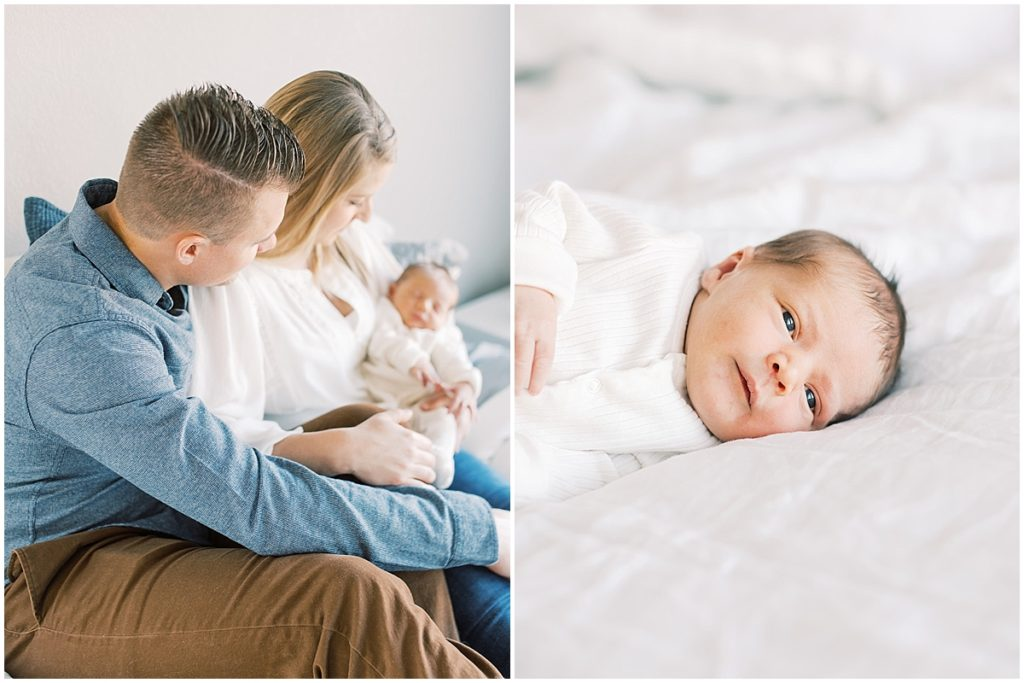 mom and dad holding baby and baby awake on film Modern denver newborn session