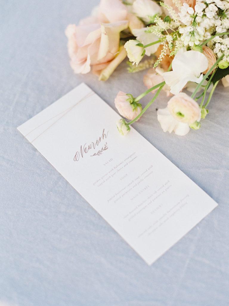 Colorado Romantic Spring Elopement nourish menu created by sarah ann design