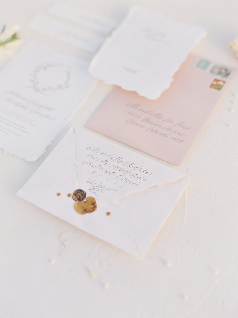 sarah ann design close up of wedding stationary
