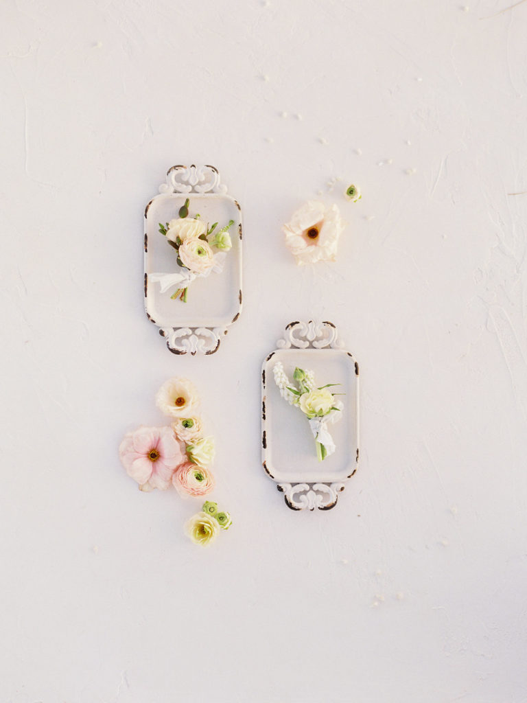 Colorado Romantic Spring Elopement spring florals styled on a tray