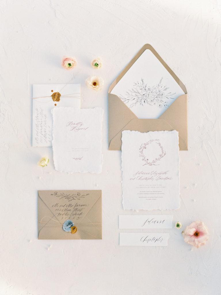 Colorado Romantic Spring Elopement custom wedding invitation suite by sarah ann design