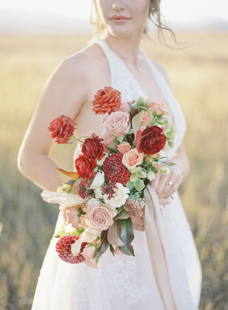 Beautiful bouquet by Helios Floral for a Romantic Al Fresco Wedding Inspiration at Stonewall Farm
