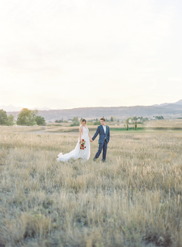 Bride and groom photographed by Decorus photography during a Romantic Al Fresco Wedding Inspiration at Stonewall Farm