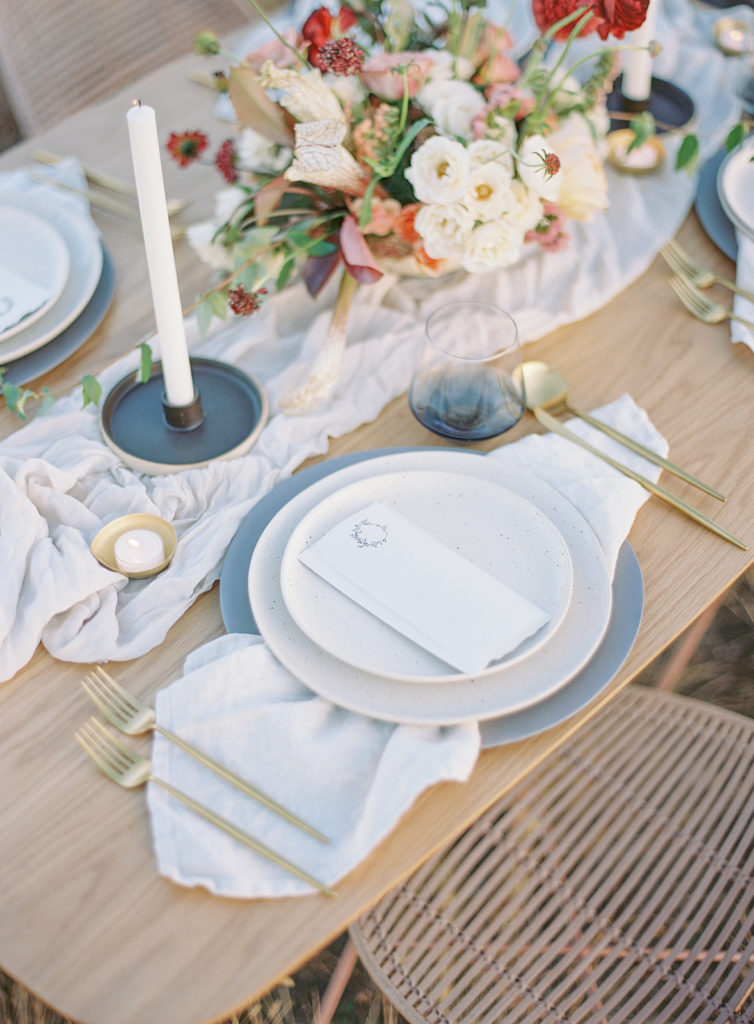 Beautiful table setup photographed by Decorus photography during a Romantic Al Fresco Wedding Inspiration at Stonewall Farm