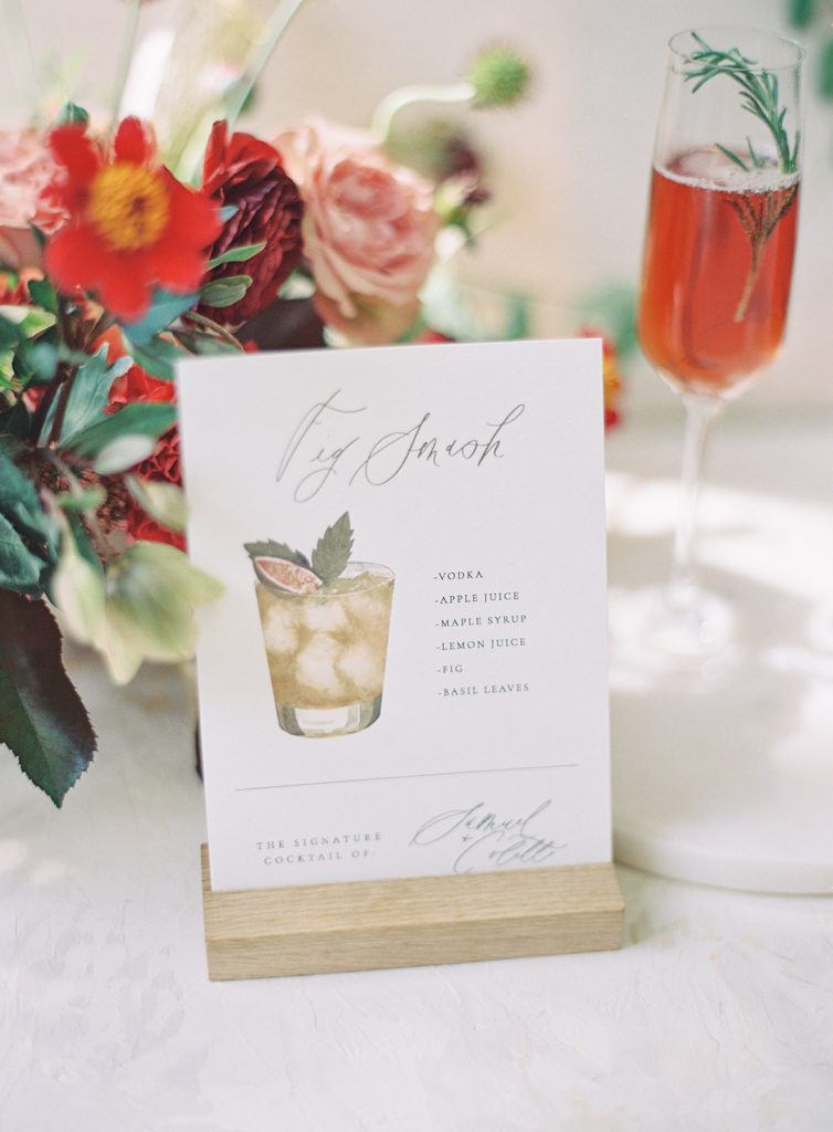 Custom hand watercolored signature wedding cocktail created by Abbey Ratcliff photographed by Decorus photography during a Romantic Al Fresco Wedding Inspiration at Stonewall Farm