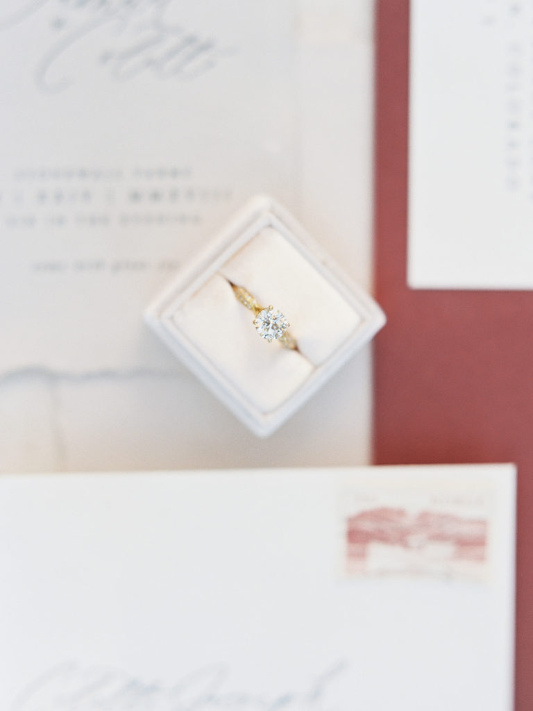 Beautiful engagement ring by the diamond reserve photographed by Decorus photography during a Romantic Al Fresco Wedding Inspiration at Stonewall Farm