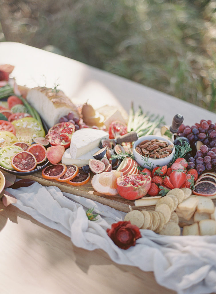Beauitful grazing table created by Rocky Mountain Catering during a romantic Al Fresco Wedding Inspiration at Stonewall Farm