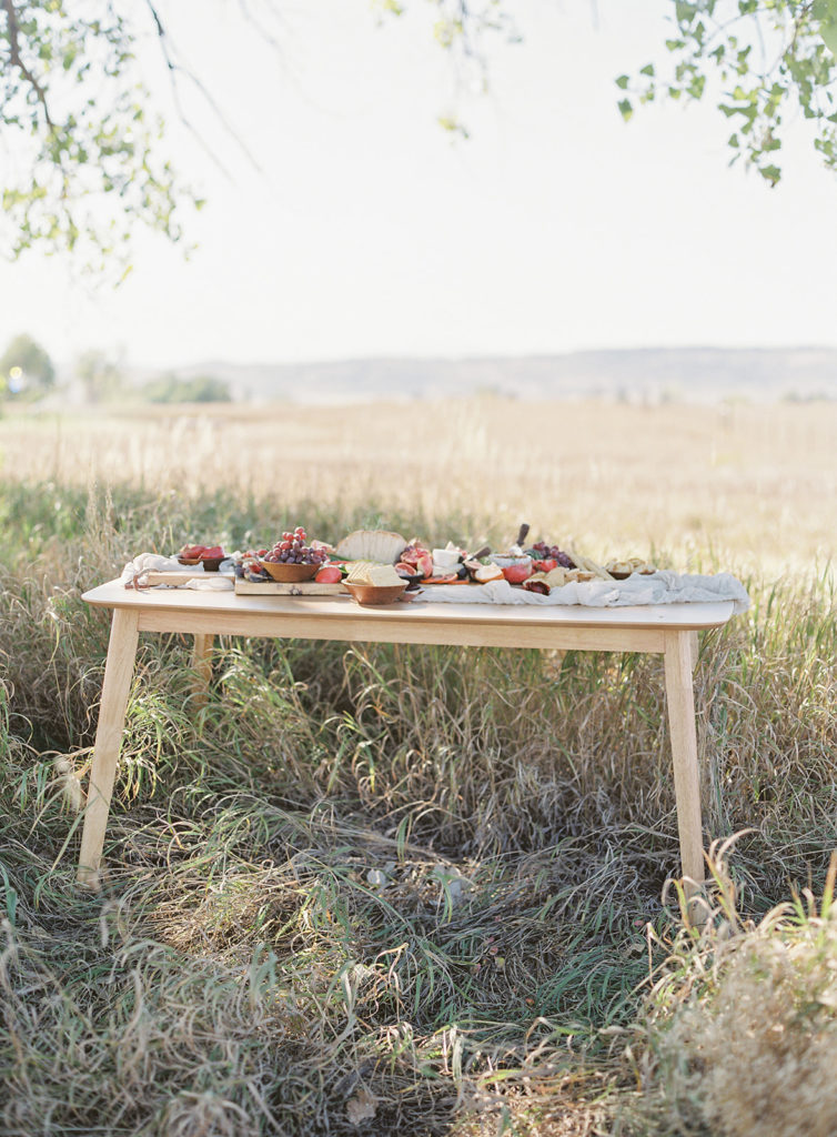 Shot of a grazing table created by Rocky Mountain Catering photographed by Decorus photography during a Romantic Al Fresco Wedding Inspiration at Stonewall Farm