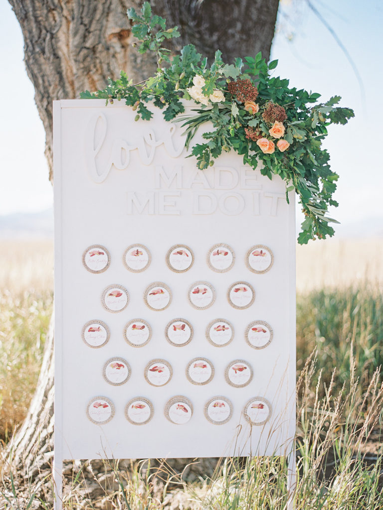 Custom seating chart design by Curate Events and Design photographed by Decorus photography during a Romantic Al Fresco Wedding Inspiration at Stonewall Farm