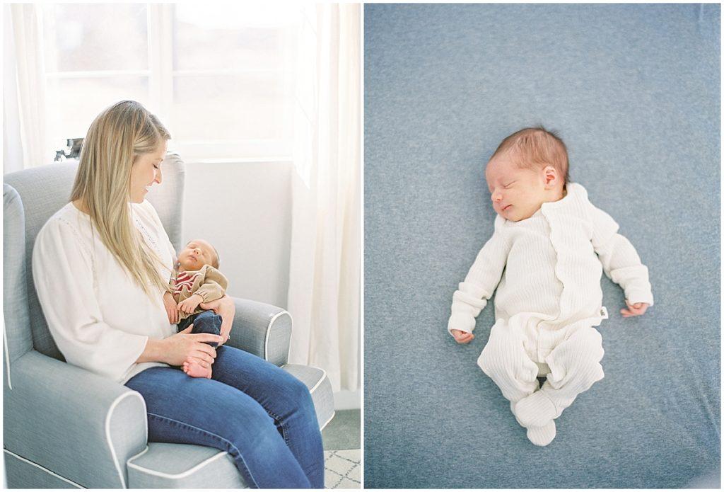 Denver Newborn photographer baby sleeping and mom holding newborn baby boy